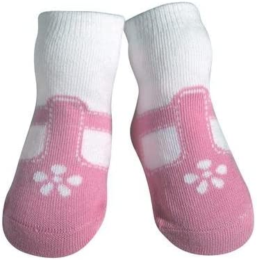 JazzyToes Baby Socks T-Strap Mary Jane Pink - Girls, 0-12 Months