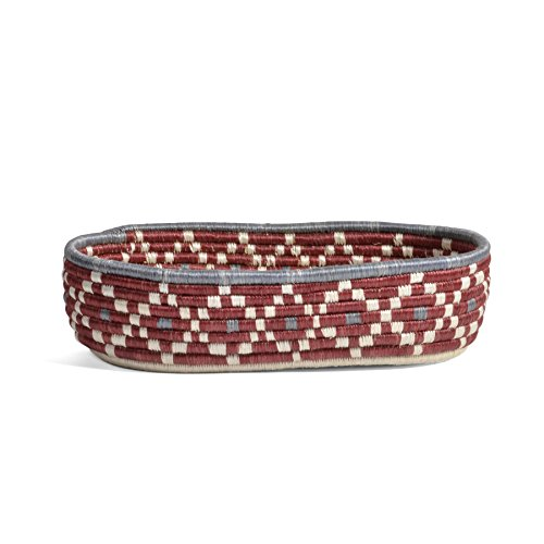 All Across Africa Handwoven Oval Bread Basket, Earth Red