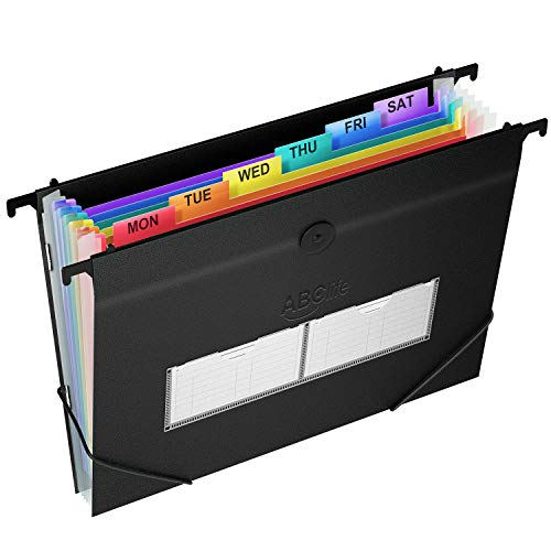 7 Pockets Plastic Hanging File Folders Letter Size Accordian File Organizer Expanding File Folder for Filing Cabinet/Accordion File Box Rainbow Paper Document Organizer Retractable Hooks/Colored Tabs