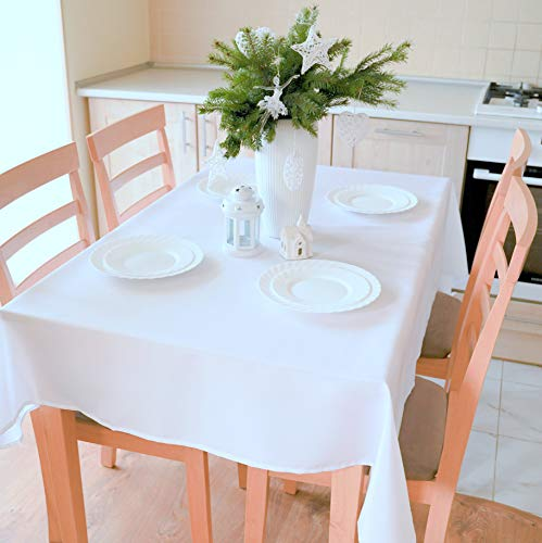"""Non-Iron Stain Resistant Thanksgiving Table Cloth – Cheap Table Cover Home Dining Room Table Protection - Christmas White Thanksgiving Decorations, Rectangle 60""""x84"""""""