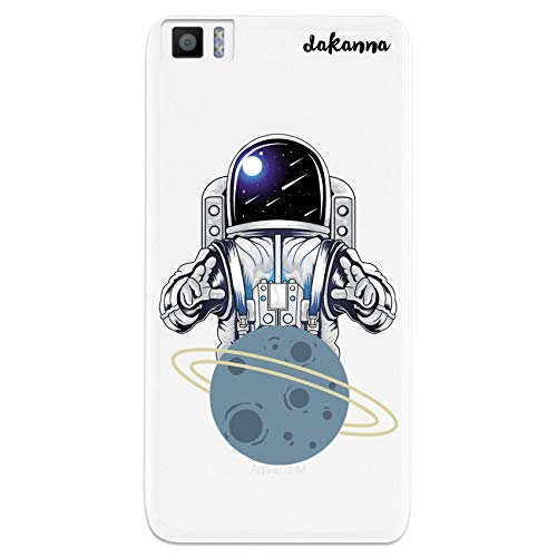 dakanna Funda Compatible con [Bq Aquaris M5.5 - M 2017] de Silicona Flexible, Dibujo Diseño [Astronauta en Espacio y Planeta], Color [Fondo Transparente] Carcasa Case Cover de Gel TPU para Sma