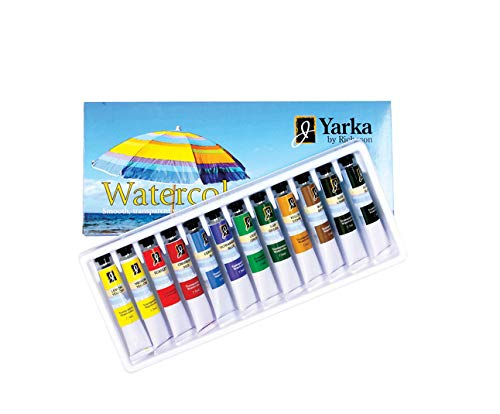 Yarka 33513 Non-Toxic Watercolor Paint Set, 7.5 mL Tube, Assorted Bright Color (Pack of 12)