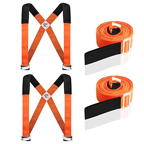 HQQNUO Moving Straps, 2-Person Shoulder Lifting and Moving System for Appliances, Furniture, Mattresses or Heavy Objects up to 800 Pounds (Orange)