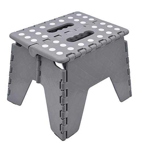 Knight Folding Step Stool Strong Heavy Duty Skid Resistant Stool for Kids and Adults, H20 x L25 x W20 CM (Grey)