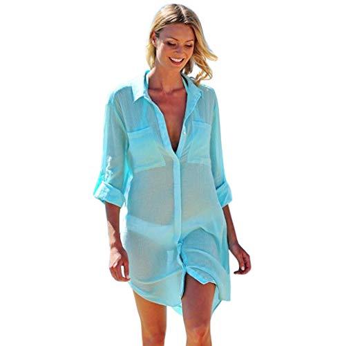 Damen Blusen Beiläufig Langarm Volltonfarbe V-Ausschnitt Longshirts Bluse Oversize Strand Hemd Tunika Tasche Oberteil Shirtkleid 3/4-Ärmel Sommerbluse TWBB