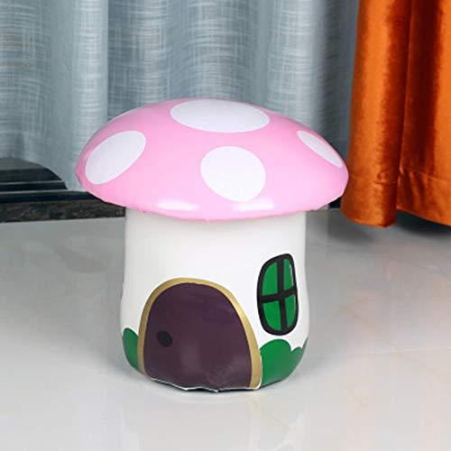 HUOQILIN Pilz Kleine Leder Baidunzi Haus Mode Schöner Lederhocker Spart Platz Cartoon Kinder Kleine Hocker Hocker Kreative Persönlichkeit (Color : Pink)