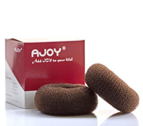 AJOY 2 Pieces Large Donut Hair Bun Maker, Diameter 3.3-3.6 Inch, Bun Shaper Form Sponge for Long Thick Hair, Messy Foam Hair Nets for Women, Hair Doughnut Sock Bun holder, Brown