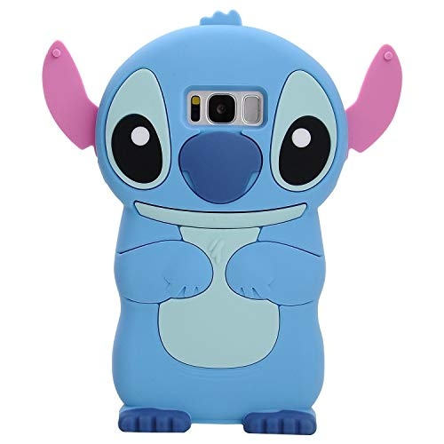 Blue Stitch Case for Samsung Galaxy S8 Plus +,3D Cartoon Animal Cute Soft Silicone Rubber Protective Kawaii Character Cover,Animated Funny Cool Skin Cases for Kids Child Teens Girls Guy(Galaxy S8Plus)