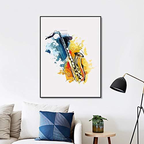 Geiqianjiumai abstract muziekinstrument saxofoon muur kunst poster afdrukken aquarel canvas Jazz afbeelding saxofoon decoratief frameloos schilderwerk