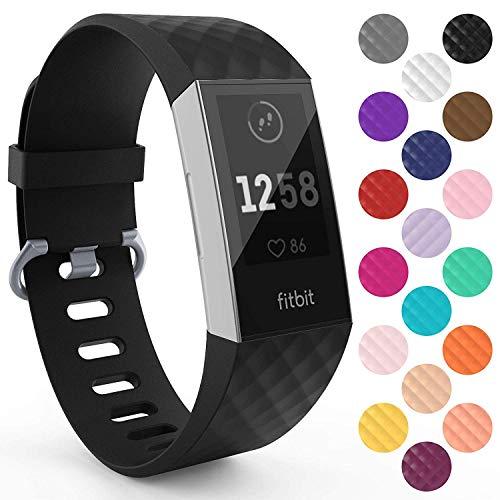 Yousave Accessories Armband Kompatibel mit Fitbit Charge 3 & 4 Armband, Silikon Ersatzarmband für Fitbit Charge3 / Charge4 Tracker, Sport Armband, Fitbit Charge 3 & 4 Armbänder - Groß - Schwarz