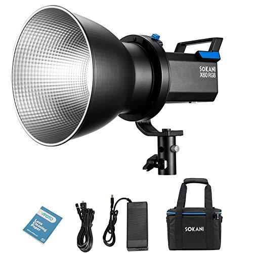Sokani X60 Luz de vídeo RGB, 80 W, 2800 K-10000 K, soporta el control de la aplicación Bluetooth del teléfono móvil, tarjeta de instalación Bowence(Sokani X60)