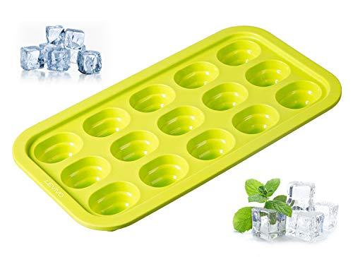 Levivo Silikon Eiswürfelform für 15 Eiswürfel, mit innovativem Pop-up-System, Grün