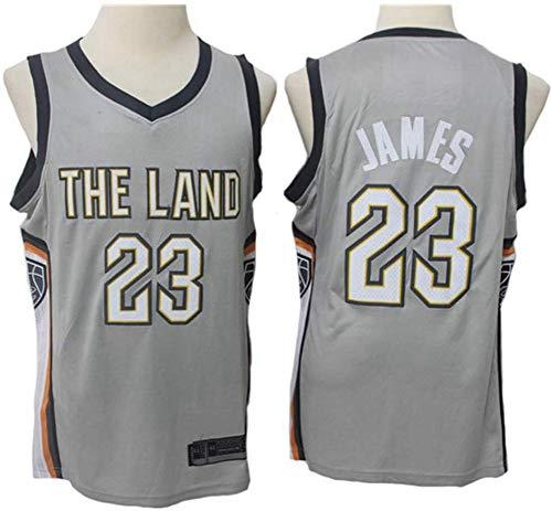 Jerseys De Baloncesto Para Hombres, Cleveland Cavaliers # 23 LeBron James NBA Retro Baloncesto Uniformes Tops Sueltos Casual Chalecos Deportivos Sin Mangas Camisetas Sin Mangas,Gris,XXL(185~190CM)