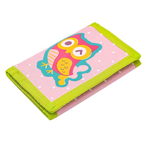 RFID Wallet, Cute Cartoon Wallet with Zipper for Kids (Owl)
