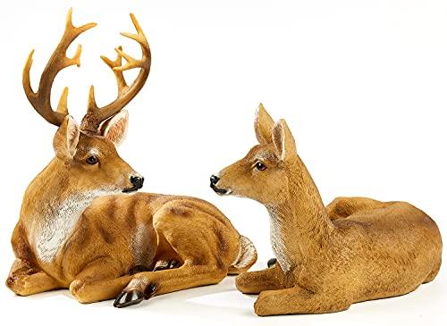 JHVYF Adorable Deer Statue Decor for Garden Yard Buck & Doe Lying Outdoor Sculptures for Home Decor 312-313