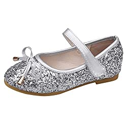Aaa-Silvery Heels Mary Jane Princess Flower Girl Shoes