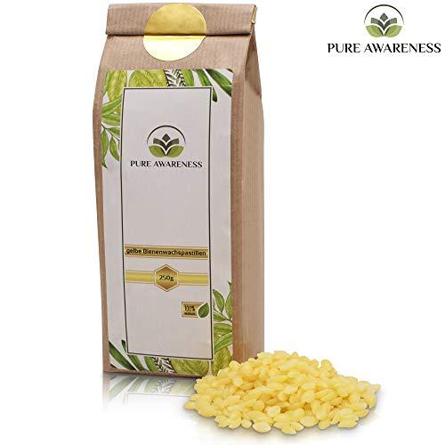 PURE AWARENESS® Bienenwachs Pastillen - 250g - 100% natürlich - Bienenwachs - ungebleicht - perfekt geeignet für Kosmetik, Bienenwachskerzen und vielen mehr