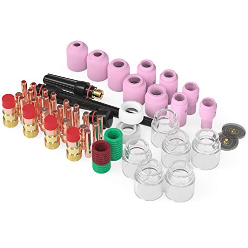 YESWELDER 71PCS TIG Welding Torch Stubby Gas Lens #12 Pyrex Glass Cup Kit For WP-17/18/26