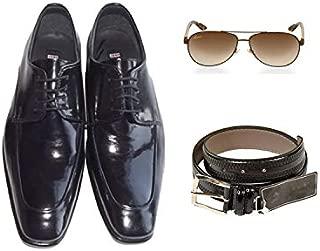 Eray Kundura Klasik Siyah Düz Erkek Ayakkabısı + Kemer + Güneş Gözlüğü