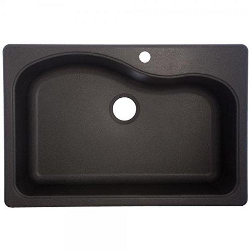 Franke Gravity 33-Inch Wide x 9-Inch Deep Dual Mount Granite Single Bowl Kitchen Sink in Graphite