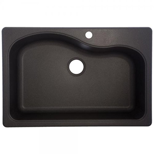 Franke Gravity 33-Inch Wide x 9-Inch Deep Dual Mount Granite Single Bowl Kitchen Sink in Graphite, SGR3322-1