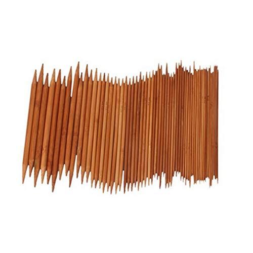 Egurs 15 Tamaños (75 Piezas) 20cm Knitting Needle Bamboo Set 2.0-10.0mm Agujas de Tejer Hechas a Mano de Doble Punta Crochet Hooks Bufanda Calcetines Cap Guantes Ropa de bebé, etc.
