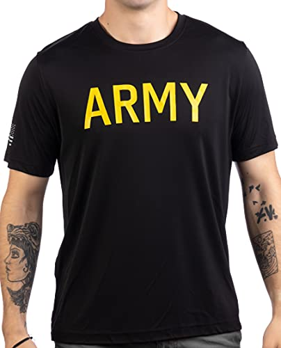 Army Wicking PT Style Shirt | U.S. Military Performance Training Infantry Workout T-Shirt-(Poly,XL) Black