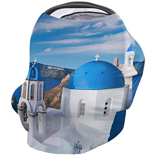 Find Discount Santorini Greece Nursing Cover for Baby Breastfeeding, Soft Breathable Stretchy Carseat Canopy, Nursing Cover Up for Girls, Boys – European Classical Church with Blue Domes