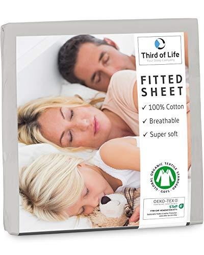 Spannbettlaken 180x200cm aus 100% Oekotex-Baumwolle, GOTS zertifiziert I Das atmungsaktive & fusselfreie Bettlaken ALBA ist elastisch & weich I Designed in Germany I 20 cm Höhe, hellgrau