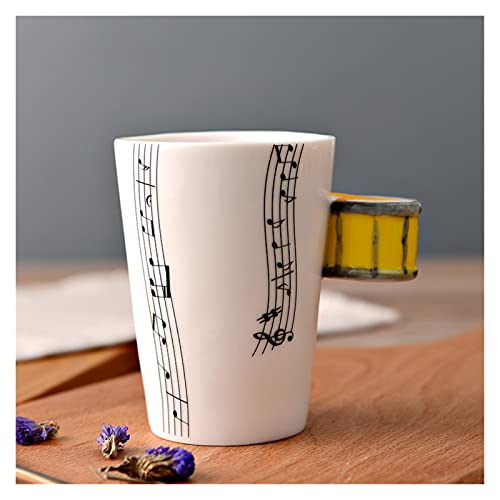 JSJJAQW Taza de Agua Copa de cerámica Creativa Leche Breakfast Cupoffice Taza Nota Instrumento Musical Taza de Agua Taza Taza Tazas Tazas de café (Capacity : 250ml, Color : 32)