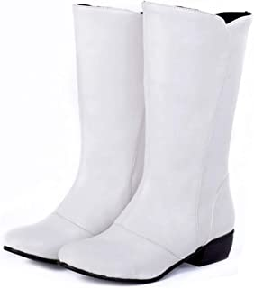 GIY Women's Cowboy Mid Calf Tall Ankle Boots Wide Width Round Toe Slip-On Stacked Low Heel Western Boots