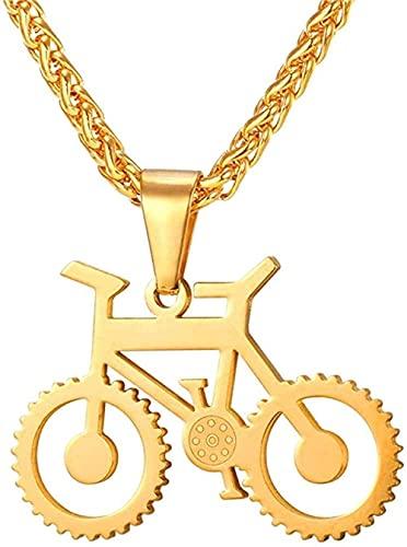 NC134 Collar de bicicleta de acero inoxidable y colgante de cadena para hombres/mujeres de moda caliente joyería hippie rock 55 cm colgante collar niñas niños regalo