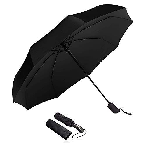 Black Umbrella Compact Travel Umbrella - Windproof, Reinforced Canopy, Ergonomic Handle, Auto Open/Close Multiple Colors