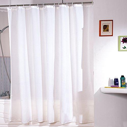 """MSV Anti-Schimmel Duschvorhang - Anti-Bakteriell, waschbar, wasserdicht, mit 12 Duschvorhangringen - Polyester, """"Weiß"""" 180x200cm"""