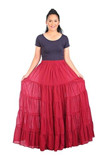 Lannaclothesdesign Women's Cotton Long Ruffle Full Circle Long Skirts Maxi Skirt (Lenght 37 inches, Burgundy)