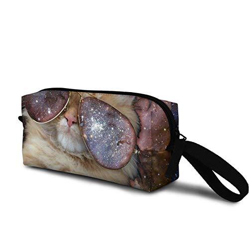 wenxiupin Gato con Gafas de Sol en el Espacio Estuche de Maquillaje Estuche de cosméticos Estuche de Aseo Estuche de Maquillaje de Viaje para Mujeres