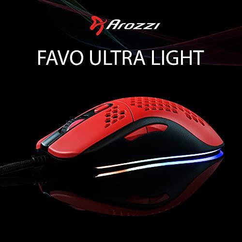Arozzi Favo Gamingmaus Ultra Light RGB (Rouge/Schwarz), AZ-FAVO-BKRD