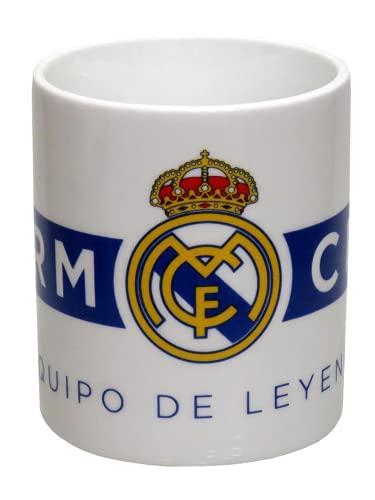 Real Madrid - Tazza in ceramica in scatola, per adulti, unisex, colore: bianco/blu, taglia unica