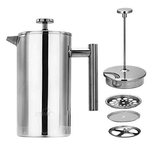 ETiME Kaffeebereiter Kaffeekanne Teebereiter French Press System Edelstahl thermoisoliert groß 1 L Silber (1L Silber)
