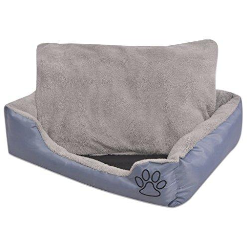 vidaXL Hundebett mit Kissen Größe L Grau Hundekorb Hundekissen Hundesofa