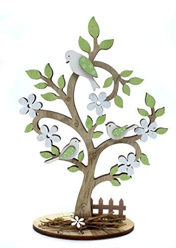 DARO DEKO Holz Figur Baum mit Vögeln 1 Stück - 19cm x 28cm