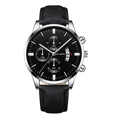 Yivise Relojes de Moda para Hombre Negocio Casual Sport Estilo Caja de Acero Inoxidable Banda de Cuero Cuarzo Analógico Dial Redondo Reloj de Pulsera(M)