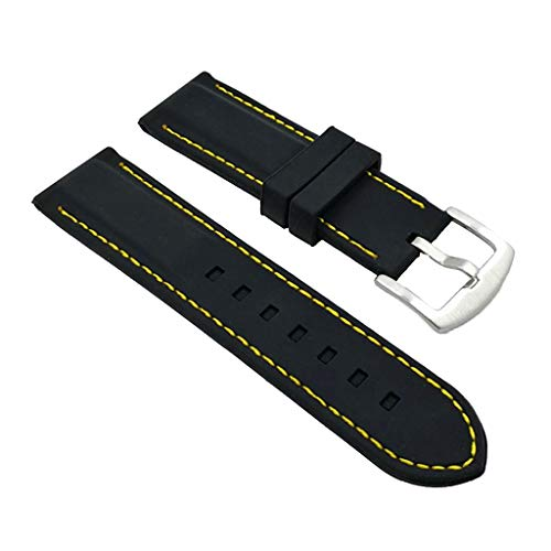Bonarty Correa de Reloj de Silicona de Resina Negra con Hebilla Impermeable de Hilo Amarillo - 20mm