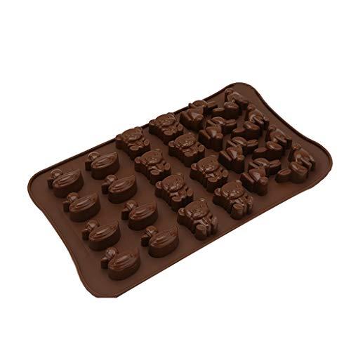 liangjunjun Moule 24 cavités 3D Mini Ours De Canard Lapin Animal en Forme De Silicone Gâteau Fondant DIY Moule Bonbons Au Pouding Au Chocolat Moule Glace Mignon Plateau Outil De Cuisson