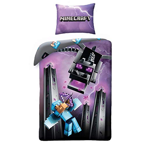 Halantex - MNC130 - Minecraft Chevalier De Diamant avec Archet Contre Dragon Housse de Couette Original Taie Original Bed Set - 100% Coton - Multicolor - 140x200centimeter