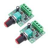 ARCELI 2Pcs 1.8v 3v 5v 6v 7.2v 12v 2A 30W Baja tensión DC Motor Velocidad Controlador PWM...