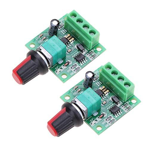 ARCELI 2 Stücke 1,8 V 3 V 5 V 6 V 7,2 V 12 V 2A 30 Watt Niederspannungs-DC-Motordrehzahlregler PWM 1803BK 1803B Einstellbarer Fahrerschalter