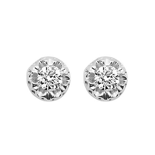 MILLE AMORI ∞ Pendientes de oro y diamantes para mujer ∞ Oro blanco de 9 Kt 375 diamantes 0.36 quilates ∞ Colección Diadema + Luz + Volumen
