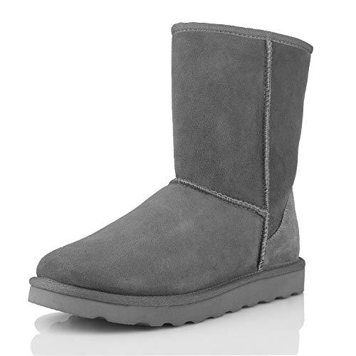 WaySoft Echtes australisches Schaffell-Schneestiefel für Damen, klassisch, wasserabweisend, Lammfellstiefel für Damen, Grau (grau), 37 EU