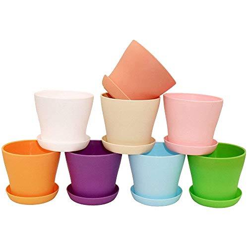 8 Pezzi di plastica Rotonda in Vaso da Fiori con Pallet 8 Colori per i Semi di Piante di Carne di vivaio e Altre Piccole Piante